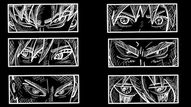 Japanische manga-gesichter. anime-charaktere. vorgefertigt. handgemalt