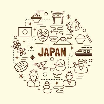 Japanische minimale dünne linie icons set