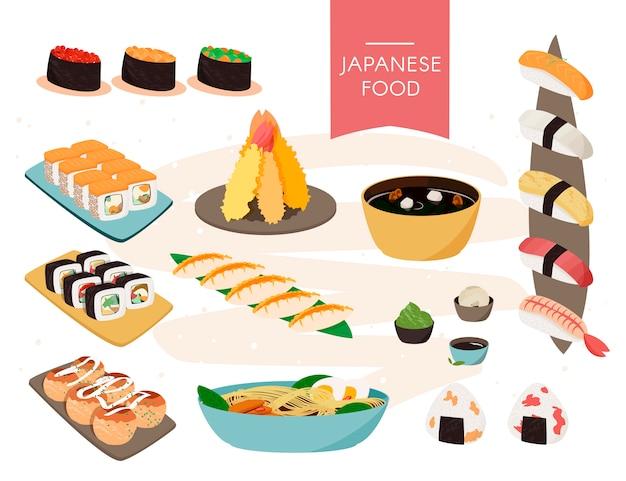 Japanische nahrungsmittelsammlung. vektor realistische reihe von sushi, suppen usw.