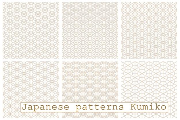 Japanische nahtlose muster gesetzt. basierend auf kumiko im holzstil.