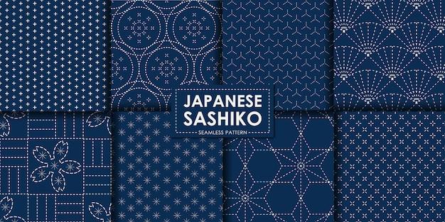 Japanische nahtlose sashiko-musterkollektion