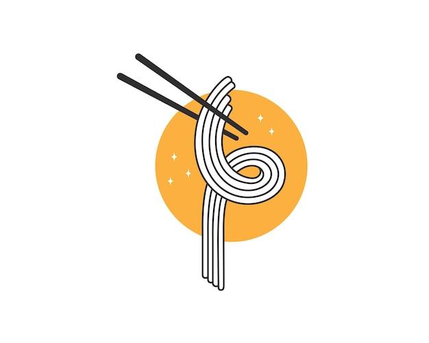 Japanische nudeln mit stäbchen