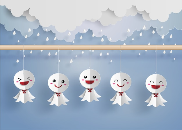 Japanische papierpuppe gegen regen