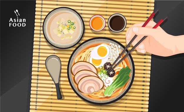 Japanische ramen-nudel, traditionelle asiatische nudelsuppe, illustration.