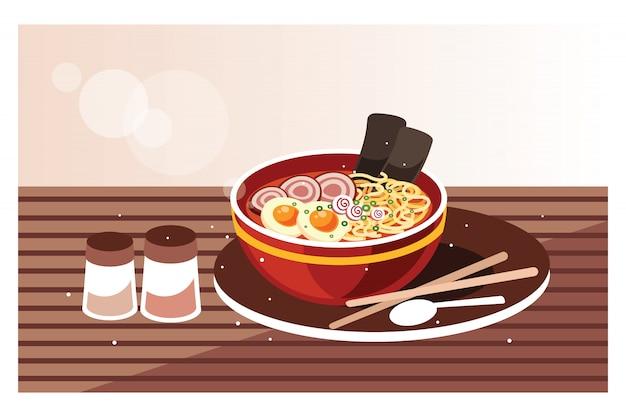 Japanische ramen-suppe mit huhn, ei und schnittlauch