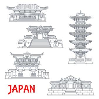Japanische reisemarken mit schreinen mit dünnen linien und tempeln von nikko. alte futarasan- und toshogu-schreine, fünfstöckige pagode, omotemon-, yomeimon-, karamon- oder karakado-tore, asiatischer tourismus