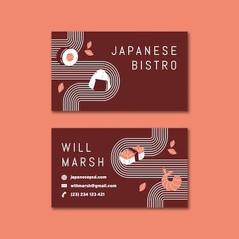 Japanische restaurant doppelseitige visitenkarte h