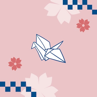 Japanische rosa sakura mit origami-papierkranich-hintergrund