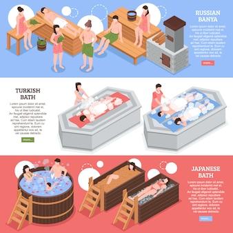 Japanische russische und türkische badehäuser setzen horizontale isometrische fahnenschablone