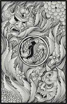 Japanische samurai- und oni-maske auf gravurmusterkunst
