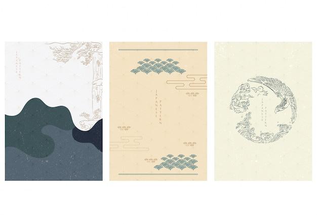 Japanische schablone mit handgezeichneten asiatischen traditionellen elementen. welle, baum, löwe und adler.