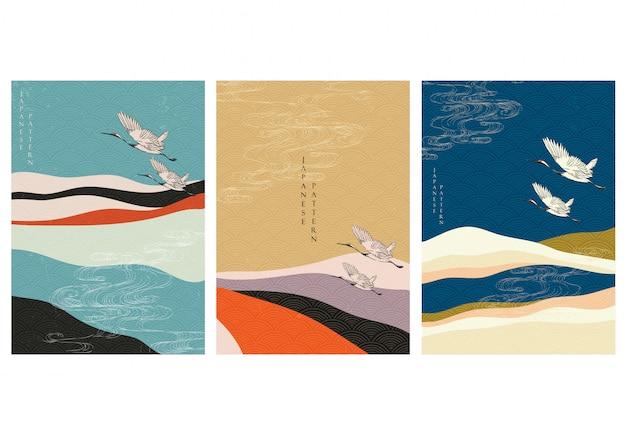 Japanische schablone mit kranichvögeln. bergwald mit abstrakter hintergrundillustration.