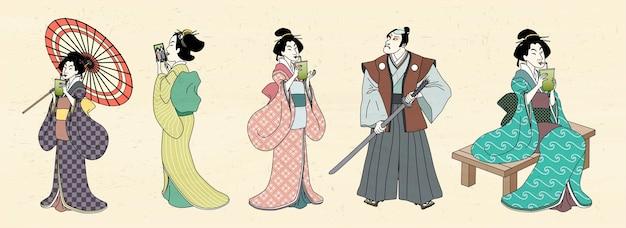 Japanische schriftzeichen im ukiyo-e-stil, geisha und kabuki