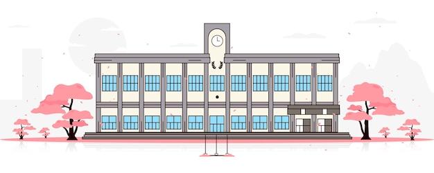 Japanische schule, umgeben von sakura-blumenbäumen