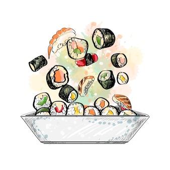 Japanische speisekarte. vegetarisches set aus einem spritzer aquarell, handgezeichnete skizze. illustration von farben