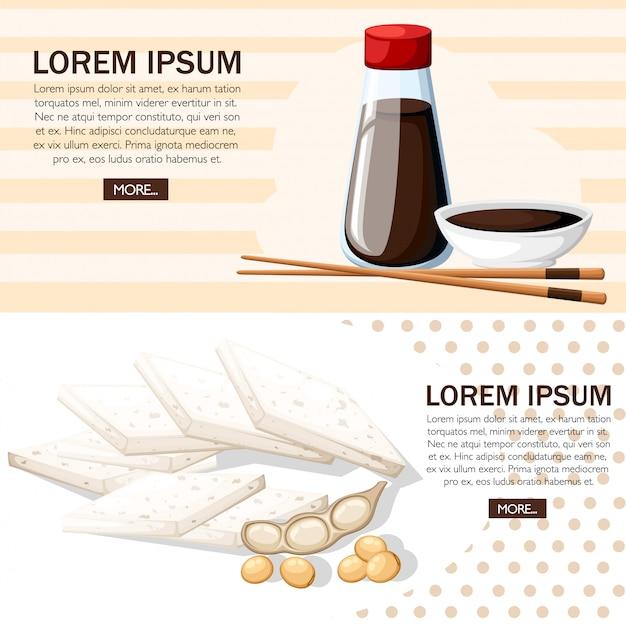 Japanische stäbchen und sojasauce in einer weißen schüssel. sojasauce in transparenten flaschen mit roten kappen. tofu und sojabohnen. illustration auf weißem hintergrund. website-seite und mobile app