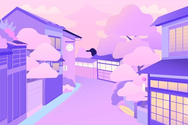 Japanische straße mit häusern und bäumen