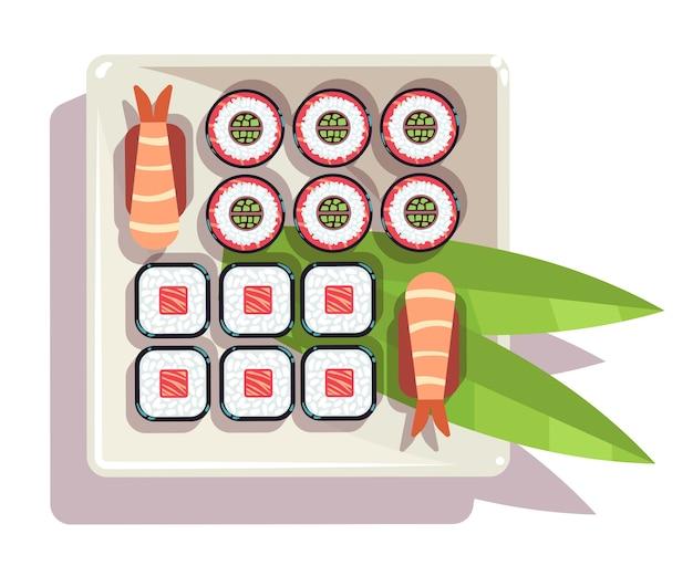 Japanische sushi über einer plattenvektorillustration
