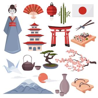 Japanische symbole und elementsatz