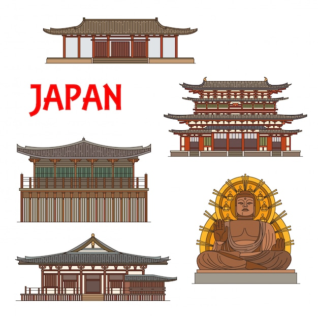 Japanische tempel, schreine, pagoden in nara, japan