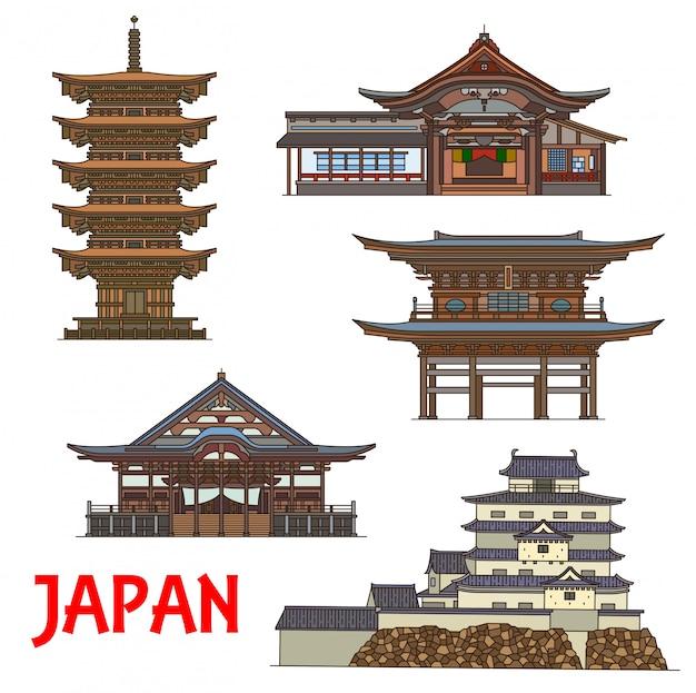 Japanische tempel und burg dünne linie reisen wahrzeichen japans. buddhistische tempel des dainichibo und horin-ji zen, das sanmon-tor von engaku-ji, die fünfstöckige pagode dewa sanzan und die burg tsuruga