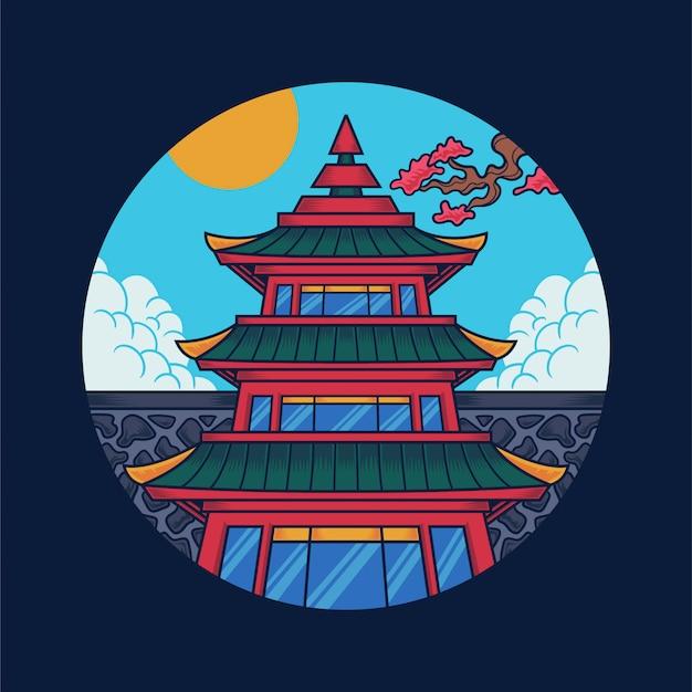 Japanische tempelillustration