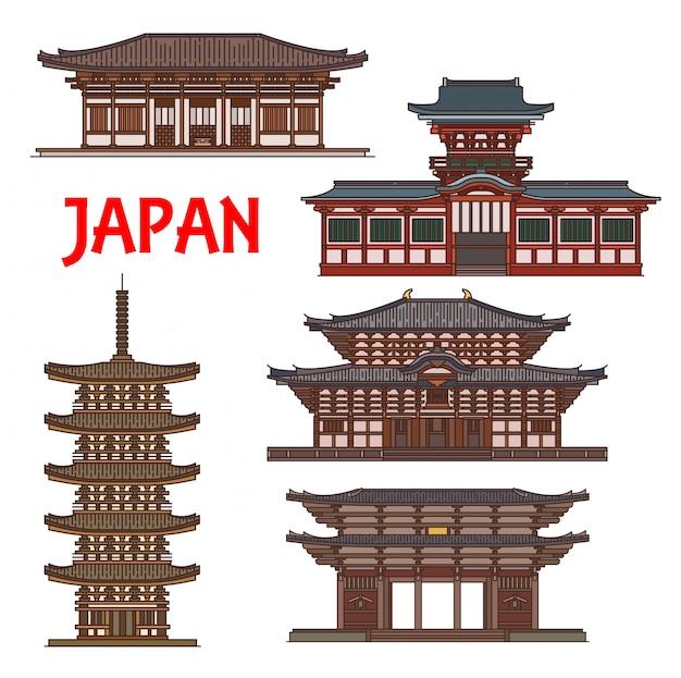 Japanische tempelschreine, japanische pagodentürme, nara