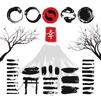 Japanische tintenschmutzkunstbürsten und asiatischer gestaltungselementvektorsatz. beschaffenheits-anschlagillustration der japanischen tinte schwarze