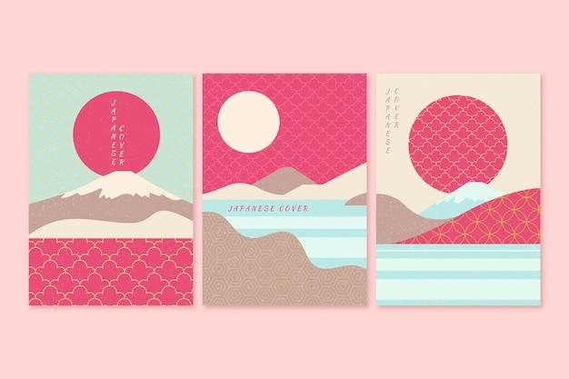Japanische titelsammlung in rosa und blauen tönen