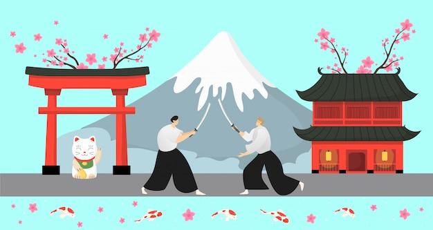 Japanische traditionelle elemente, samurai-illustration. asiatische landlandschaft, pagode sakura und hoher schneebedeckter berg