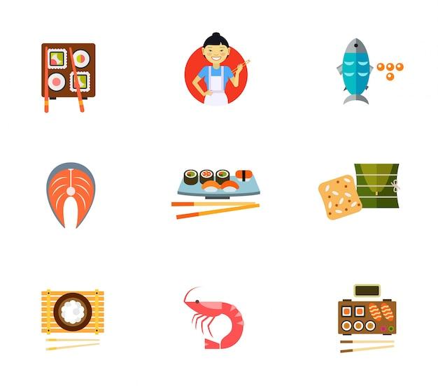 Japanische traditionelle lebensmittel icon-set