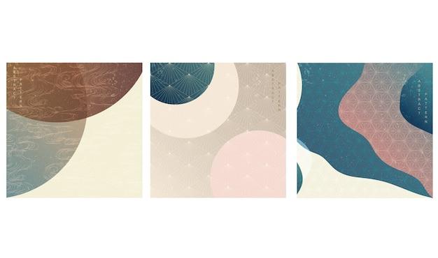 Japanische vorlage. geometrischer hintergrund eingestellt. modernes abstraktes cover-design mit farbverlauf im orientalischen stil.