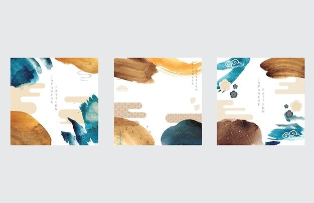 Japanische vorlage mit asiatischem symbolhintergrundvektor. aquarellpinsel-strichillustration mit wellenmuster.