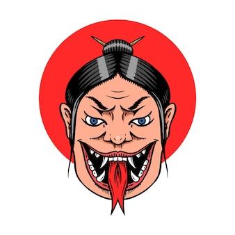Japanische weibliche geisha mit schlangenzunge.