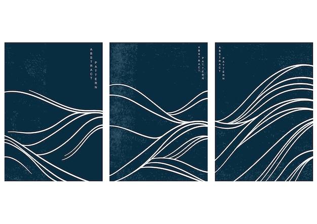 Japanische welle mit abstraktem kunsthintergrundvektor. wasseroberfläche und ozeanelemente im vintage-stil.