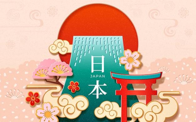 Japanische zeichen auf japanischem neujahrskartenentwurf. asiatisches feiertagspapier geschnitten mit torii oder tor, fuji