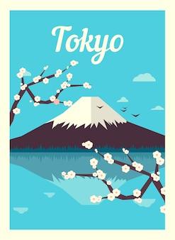 Japanischer berg fuji in sakura in tokio