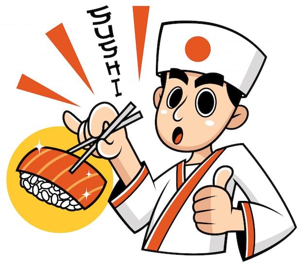Japanischer chef der karikatur, der lebensmittel darstellt. wortbedeutungen: sushi