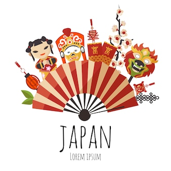 Japanischer faltfächer mit roten und goldenen streifen, kirschblüten, puppen und masken