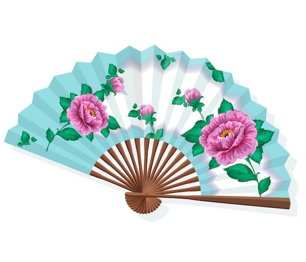 Japanischer faltpapier-sansu-fan mit rosa pfingstrosen.