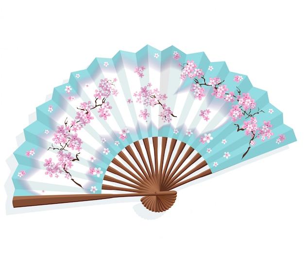 Japanischer fan des blauen papiers mit kirschblüte.