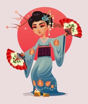Japanischer geisha-mädchenfrauencharakter, der mit fans tanzt.
