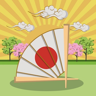 Japanischer handfächer in der landschaft