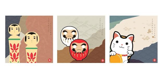 Japanischer hintergrund mit asiatischem symbolvektor. abstrakte landschaftsschablone mit handgezeichnetem wellenmuster im orientalischen stil. charmante glückspuppe, winkende katze, holzpuppe.