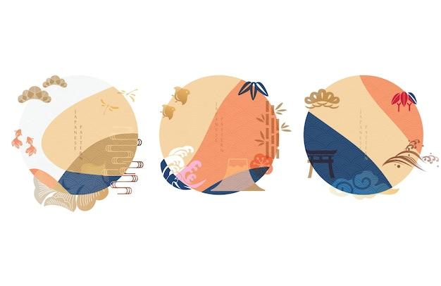 Japanischer hintergrund mit asiatischer ikone und symbolvektor. kreisform mit kurvenelement. karpfen, welle, vögel, bambus, bonsai und fuji-gebirgsobjekt.