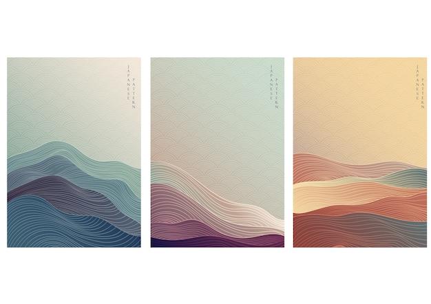 Japanischer hintergrund mit linienwellenmuster. abstrakte vorlage mit geometrischem muster.