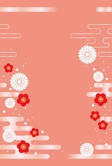Japanischer hintergrund mit traditionellen blumen und wolken