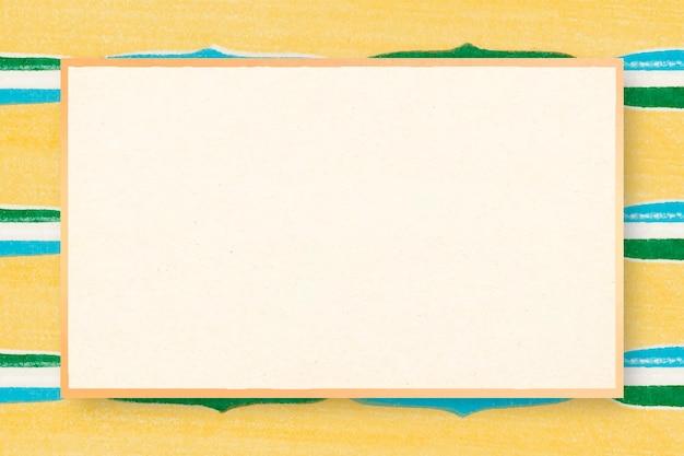Japanischer holzschnitt gemusterter rahmen vektor gelbe illustration