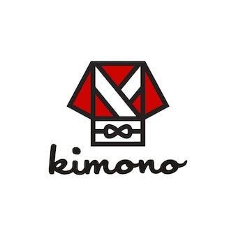 Japanischer japanischer kimono orientalischer morgenmantel mit obi-logo-design