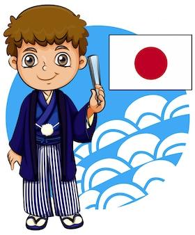 Japanischer junge mit flagge